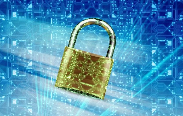 Cybersecurity padlock providing HIPAA compliance for data disaster recovery